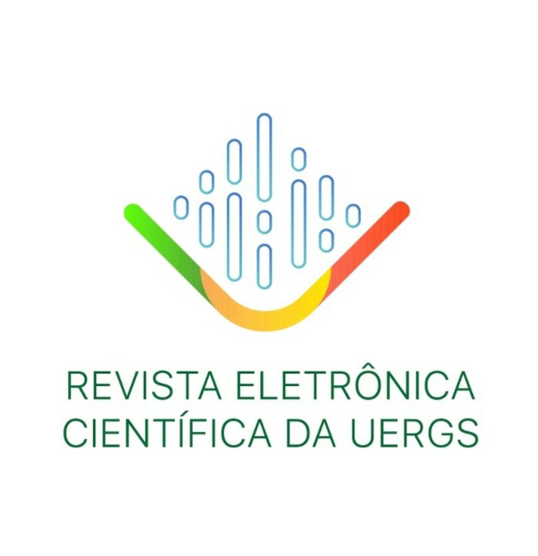 Capa da Revista Eletrônica da UERGS representando as várias disciplinas envolvidas e as unidades da instituição pelo estado!